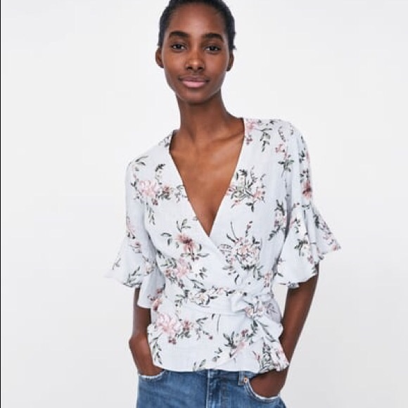 9f799597b0 Zara Floral Wrap Top with Belt and Frilly Sleeves
